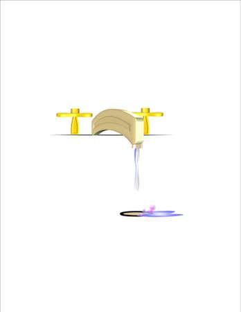 金と白の流しに水で 3 d の蛇口