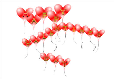 happy valentines day greeting in 3d on white