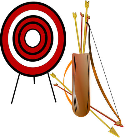 concentrate: archery set on white in 3d Illustration