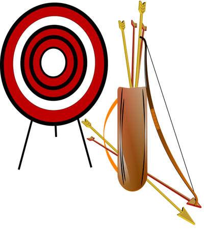 archery set on white in 3d Çizim