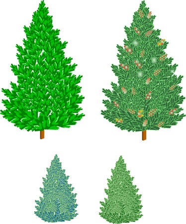 secluded: various types of christmas trees with cones in 3d