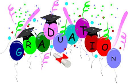 3 d ホワイトで帽子と卒業祝いカード