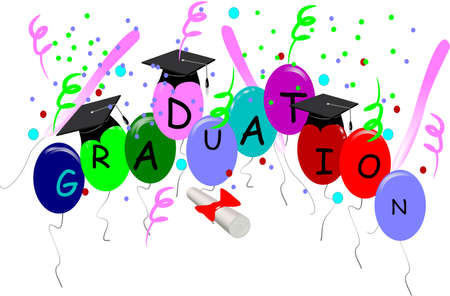 graduation card with hats in 3d on white Vector
