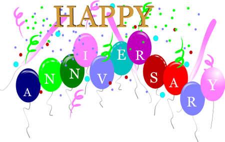 anniversary party: Buon anniversario carta bianca e 3d