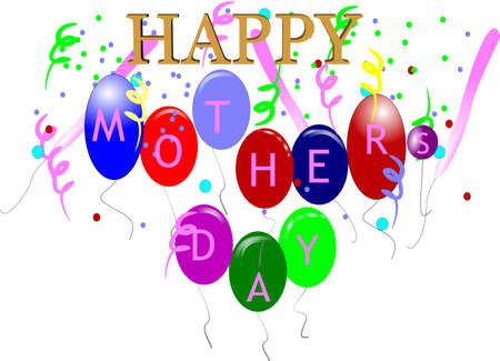 happy mothers day greeting on white Stock Vector - 6986446