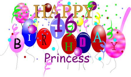 happy birthday princess in 3d on white Stock Vector - 6979580