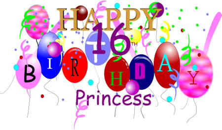streamers: happy birthday princess in 3d on white