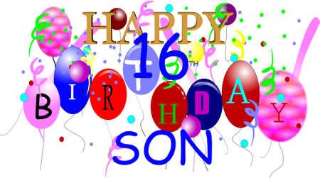 Happy 16. Geburtstag-Sohn in 3d auf weiß Standard-Bild - 6979579