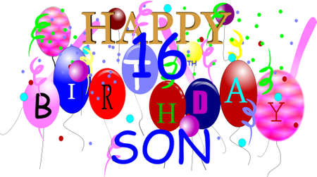 happy 16th birthday son in 3d on white Stock Vector - 6979579