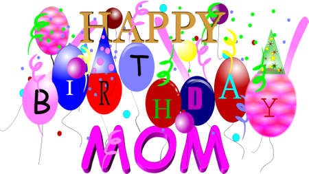 red balloons: happy birthday mom in 3d on white  Illustration