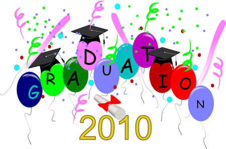 graduation2010 on balloons in 3d on white Vector