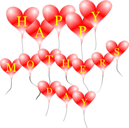 children silhouettes: red balloon hearts with happy mothers day text on white