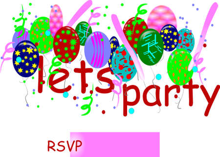 party: lets party rsvp  invitation on white card