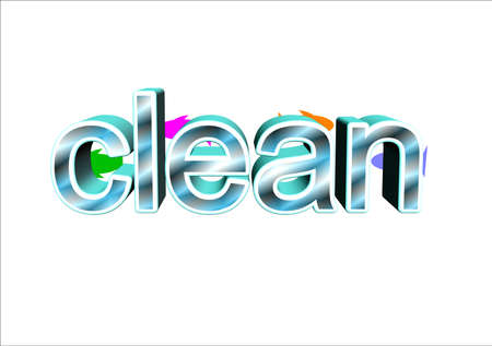 word clean filled with water and fish behind it on white Vector