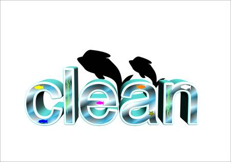 clean water fish tank in 3d with fish and seaweed Vector