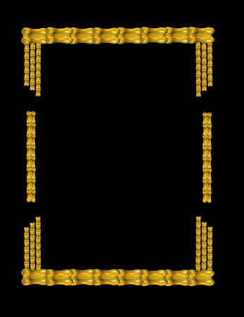 gold chinese bamboo frame in 3d on black for detail