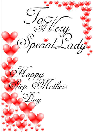 greeting: happy step mothers  day  greeting on white with hearts