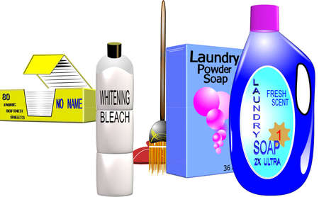 household cleaning supplies in 3d on white