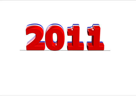 beginnings: 2011 text for new years in usa colors in 3d on white Illustration
