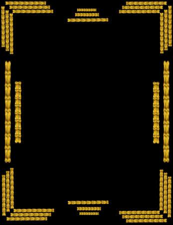 oriental gold frame in 3d on black
