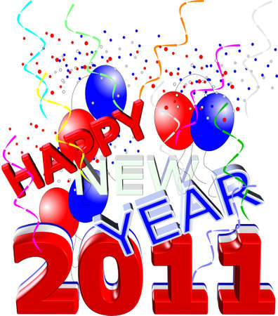 happy new year in red,white and blue in 3d  Vector