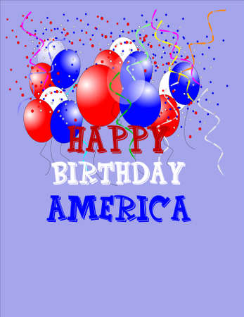 happy birthday america card with balloons and streamers on light blue Stock Vector - 7005199