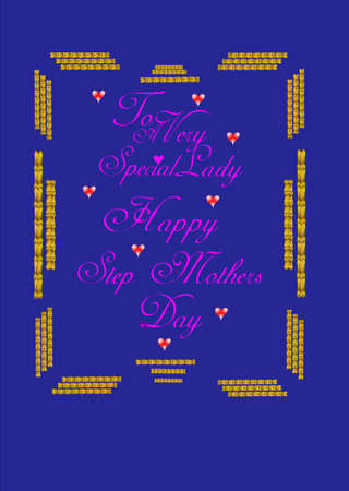 happy stepmothers day on blue with gold braid in 3d