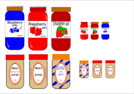 peanut butters and jams on white vectors