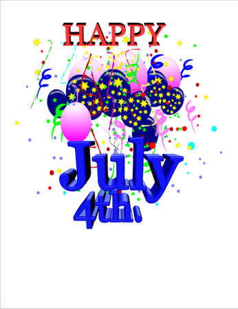 festive occasions: july 4th greeting on white in 3d