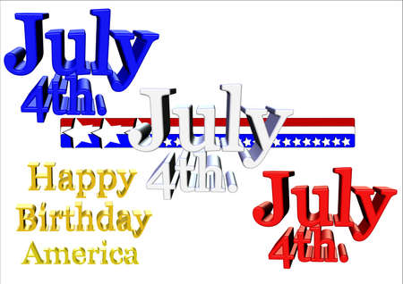 july4th greeting in 3d on white for america Stock Vector - 7026809