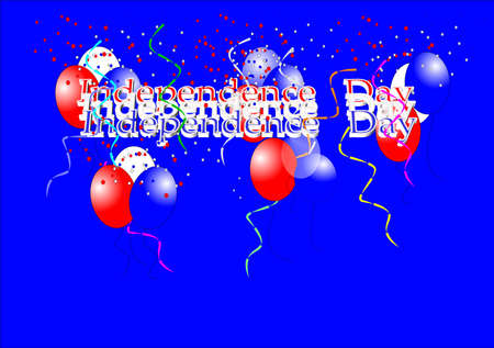 secluded: independence day greeting on blue and 3d