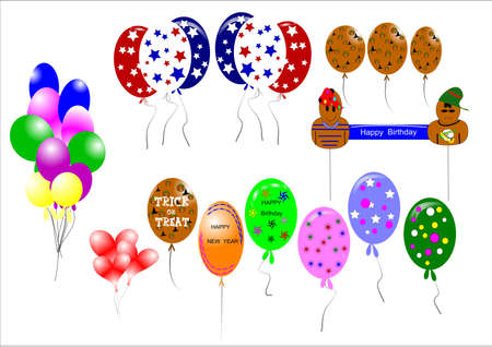 balloons galore in various styles and shapes on white