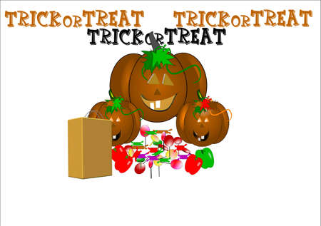 trick or treat in 3d on white with candies and suckers Illustration