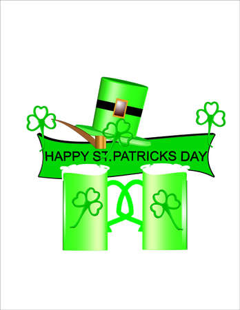 st patricks day card on white and in 3d Vector