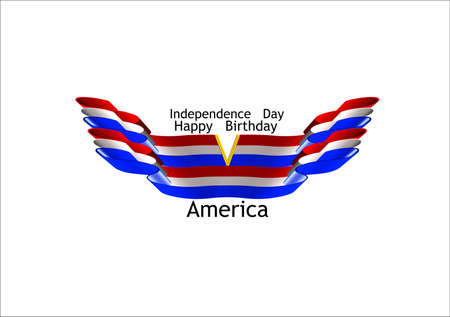 independence day for amreicas birthday in 3d on white concept of eagle wings spread and beak is v Stock Vector - 7054823