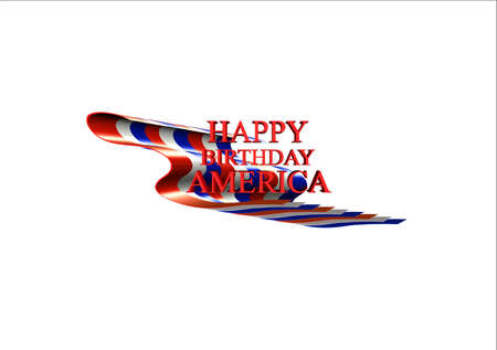 outspread: flat old glory with happy birthday greeting on white in 3d