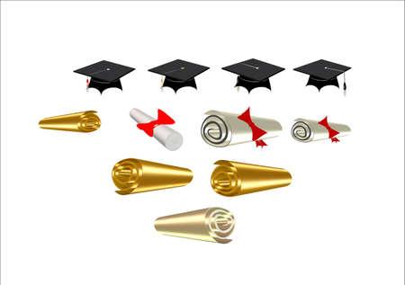 3 d で白の豊富の卒業証書