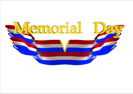 memorial day greeting with v for victory on white Stock Photo