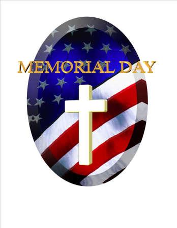 阵亡将士纪念日上,老国旗上挂着白色十字架