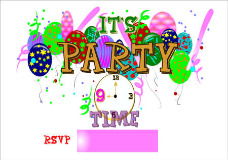 its party time with rsvp and clock on white Stock Vector - 7054855