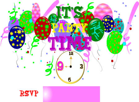 its party time in 3d on white Stock Vector - 7054854