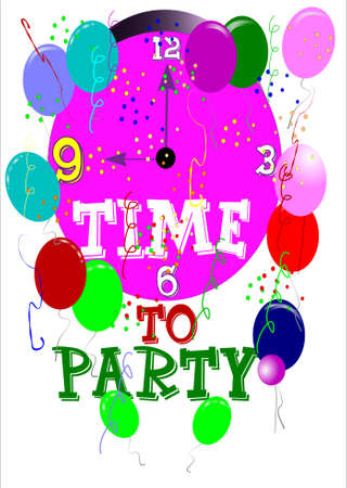 festive occasions: time to party greeting in portrait format on white
