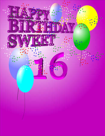 happy sweet 16th for girls Stock Vector - 7054852