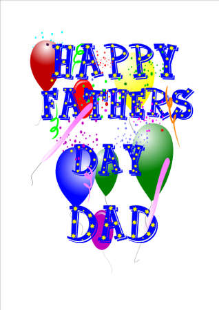 happy fathers day on white with stars in text  and balloons Stock Vector - 7080502