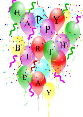 Feliz cumpleaños globos sobre blanco  Foto de archivo - 7158209