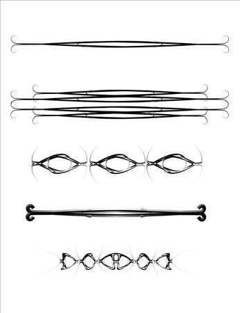 horizontal: hooks and curves separators on white