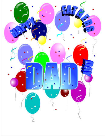 fathers day greeting on white with large text in 3d Stock Vector - 7158215