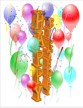 lateraal verjaardag wens in 3d goud en decoraties Stock Illustratie