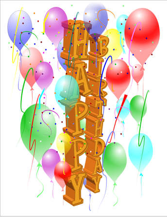 decoration: lateral birthday greeting in 3d gold and decorations Illustration