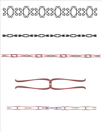 複雑なデザインと白のライン アートの要素  イラスト・ベクター素材